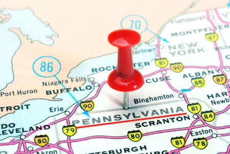 Close up of Pennsylvania   state USA map with red pin - Travel concept 写真素材
