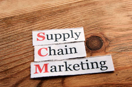 scm: SCM Supply Chain Marketing  acronym on  paper on wooden background