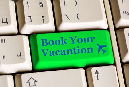 e ticket: Book Your Vacantion  on computer keyboard -  online booking concept