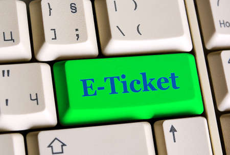 e ticket: E-ticket   on computer keyboard -  online booking concept Stock Photo
