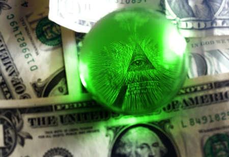 Eye of Providence all-seeing eye from US one dollar bill under glass globe, illuminati symbol Stock Photo