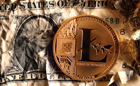 Litecoin on Crushed dollar banknote.Concept of  Monetary system collapse .