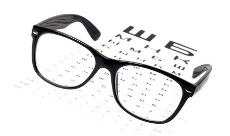 black eye glasses on eye chart Stock Photo - 17257968