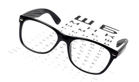 black eye glasses on eye chart Stock Photo - 17257968