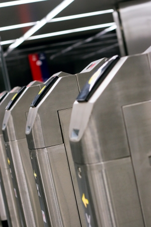 Turnstile in metro in Moscow  Russia  Stock Photo