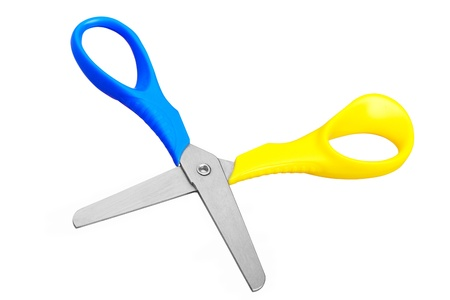 Blue scissors on white background Stock Photo - 17664754