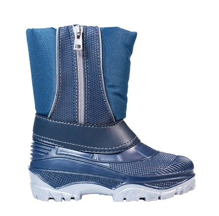 blue children rubber boot on white background