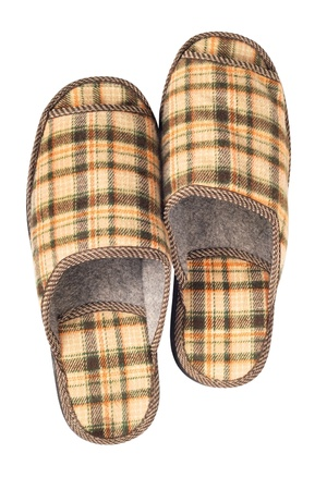 House slippers on a white background