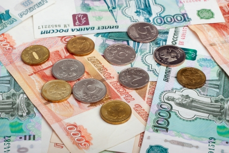 Russian currency, rouble  banknotes and coins