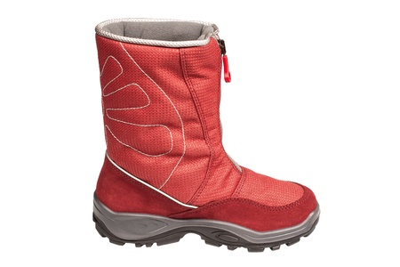 one children s red waterproof boot on a white background Stock Photo