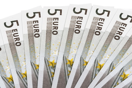 some banknotes on five euros on a white background