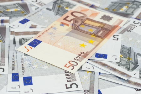 The European currency  banknotes of five and fifty euros