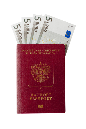 Russian passport and banknotes for five euros on a white background