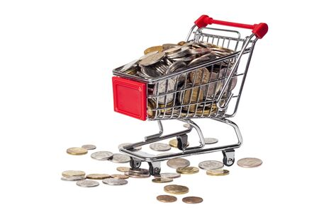 Shopping cart with coins for 2, 5 and 10 rubles on a white background