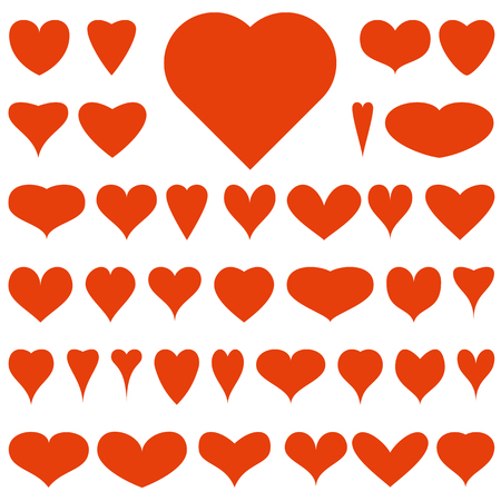 thirty eight red vector hearts on a white background  Illustration