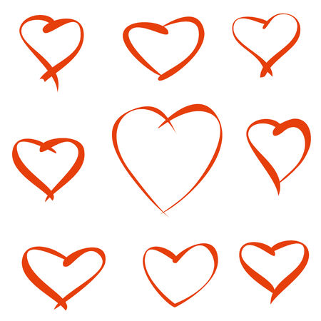 nine red vector hearts on a white background