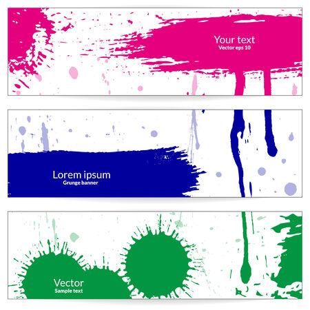 Three grunge horizontal banners. Eps 10 vector illustration