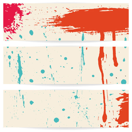 Three grunge horizontal banners. Eps 10 vector illustration