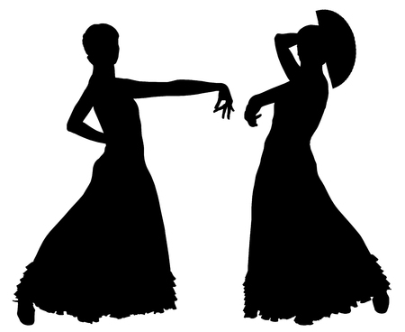 spanish woman: Two black silhouettes of female flamenco dancer on the white background for your design Illustration