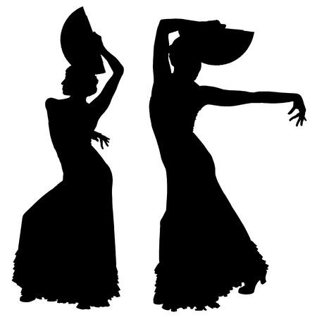 danseuse flamenco: Deux silhouettes noires des femmes danseuse de flamenco sur le fond blanc pour votre conception