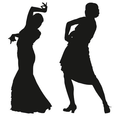donna spagnola: Due sagome nere di ballerina di flamenco femminile su sfondo bianco per la progettazione