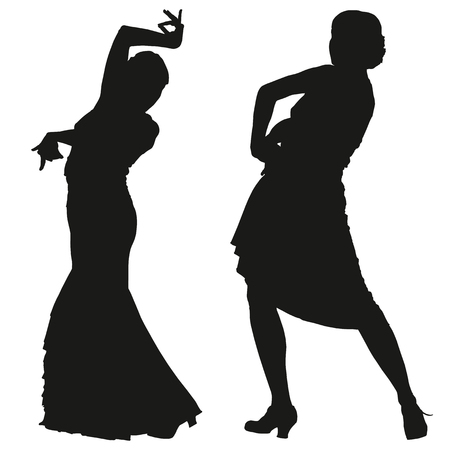 Two black silhouettes of female flamenco dancer on the white background for your design Illustration