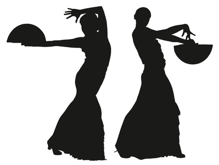 Two black silhouettes of female flamenco dancer on the white background for your design Vector