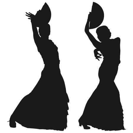 bailando flamenco: Dos siluetas negras de mujer bailarina de flamenco en el fondo blanco para su diseño