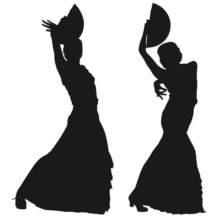 fan dance: Two black silhouettes of female flamenco dancer on the white background for your design Illustration