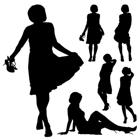 Set of black silhouettes of beautiful woman in various poses on the white background for your design