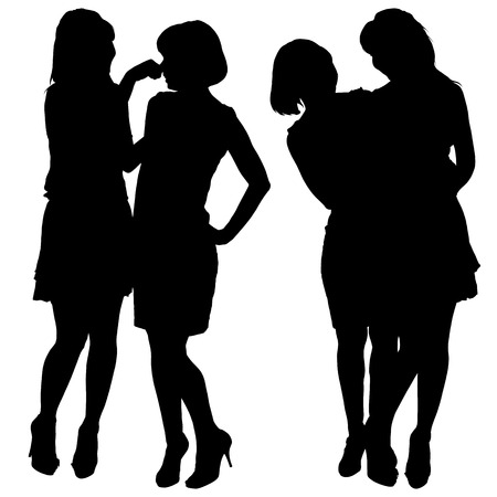 silhouette of two young slender women Illustration