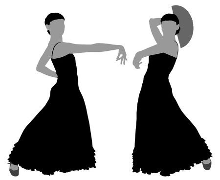 Two silhouettes of female flamenco dancer on the white background for your design Illustration