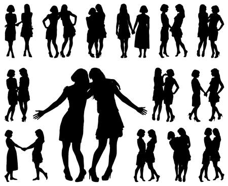 silhouet van twee jonge slanke vrouwen op de witte achtergrond voor uw ontwerp Stock Illustratie