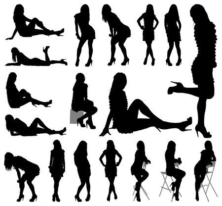 sexy young girl: сексуальная женщина силуэты на белом фоне для вашего дизайна