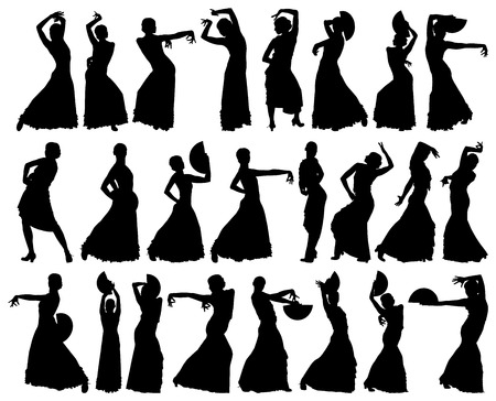 Black silhouettes of female flamenco dancer on the white background for your design Illustration