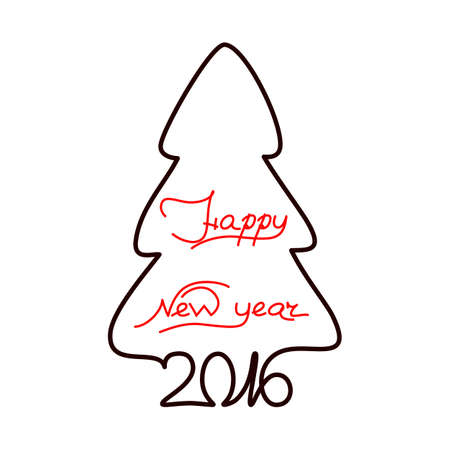 happy new year text: Happy new year 2016 text design on the white background