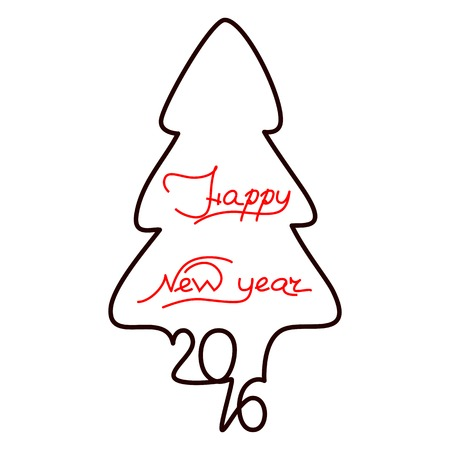 Happy new year 2016 text design on the white background