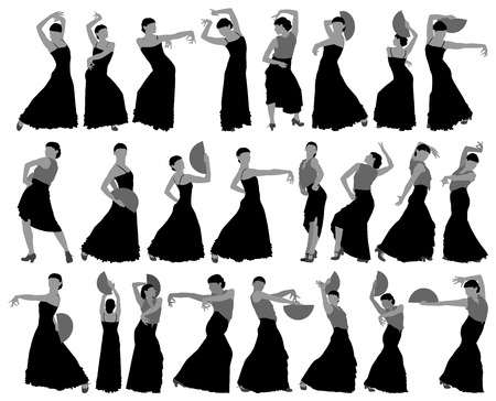 Silhouettes of female flamenco dancer on the white background for your design