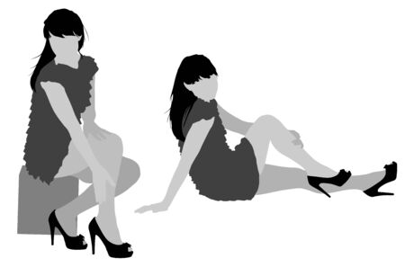 nice body: sexy woman silhouettes on the white background for your design