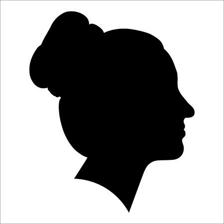 black woman face: silhouette of a woman in profile on a white background for your design