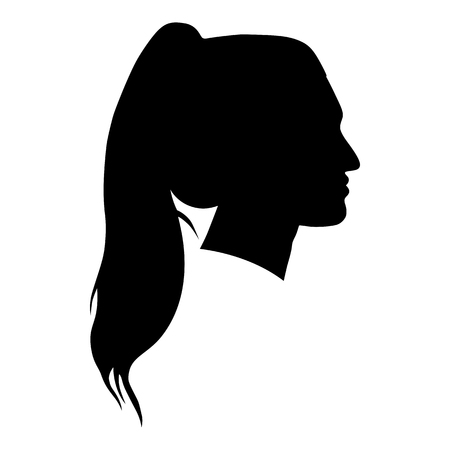 female silhouettes: silhouette of a woman in profile on a white background for your design