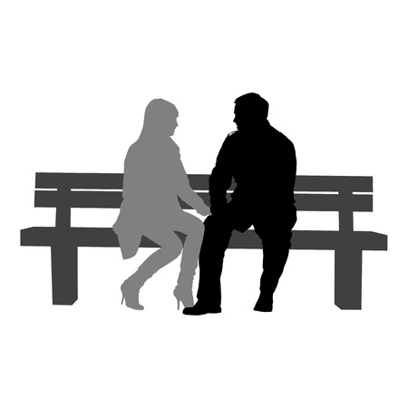 silhouettes of romantic couple on a white background for your design Illustration