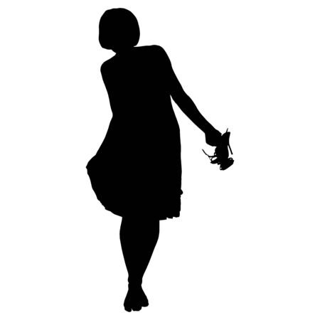 beautiful woman in dress barefoot with shoes in hands on a white background for your design