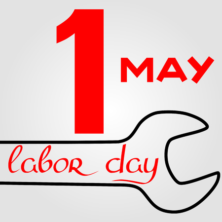 laborer: International Labor Day on May 1st. Calligraphy and handmade. Vector