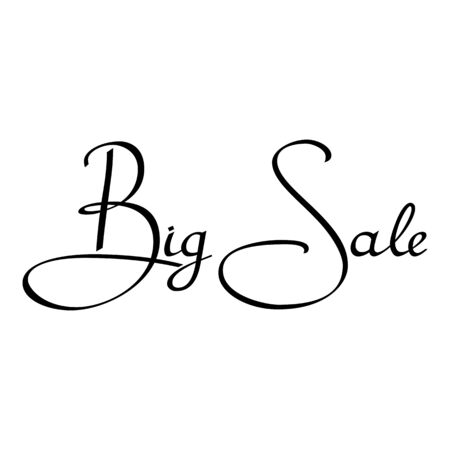 Inscription big sale on a white background. Black inscription. illustration. Isolated on with background.