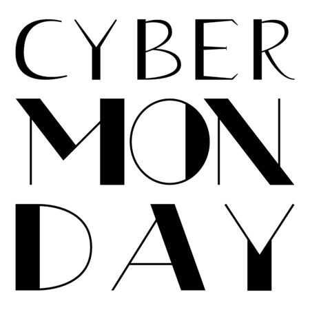 Cyber Monday hand drawn lettering text on a white background for your design