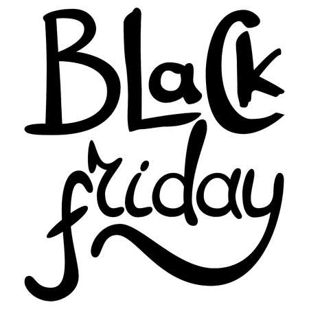 Black Friday hand drawn lettering text on a white background for your design