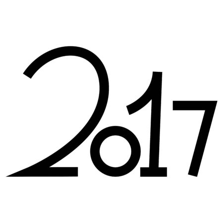 Happy new year 2017 text design on the white background