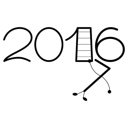 Happy new year 2016 and 2017 text design on the white background Illustration