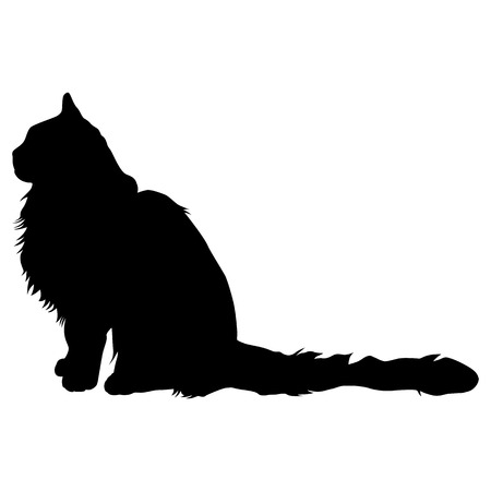 Black silhouette of cat. Vector illustration. Illustration